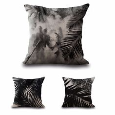 """Cotton Linen Square 18""""  Black Palm Tree Leaf Printed Sofa Decorative Cushion Covers Room Chair Pillow Case"""