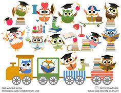 School owls Digital clip art for Personal and by Giftseasonstore