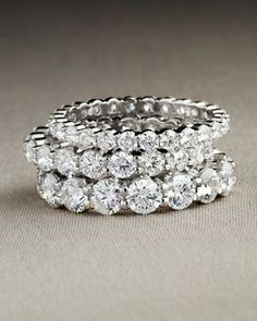 Platinum Petite Prong Diamond Eternity Bands by Memoire at Neiman Marcus.