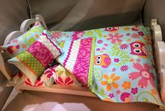 """American Girl 18"""" Doll Bedding 4 pc Owl doll bedding with Striped backing floral mattress 