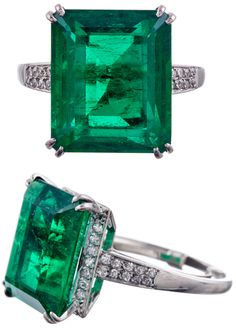 Chaumet 7.80Ct Colombian Emerald Signed Ring, via @1stdibs. Absolutely stunning and important 7.80 ct Colombian emerald, one of the finest examples we have had the pleasure of offering for sale. The emerald is vibrant, intense green, with extremely fine clarity and transparency considering its impressive size. The stone is set in a classic platinum mounting with split prongs and just enough diamonds to add a subtle flash.
