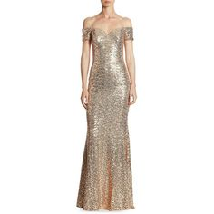 Badgley Mischka Off-The-Shoulder Sequin Gown (810 CAD) ❤ liked on Polyvore featuring dresses, gowns, brown dress, off the shoulder gown, off the shoulder ball gown, short sleeve dress and off shoulder evening dress