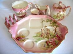 Beautiful Teapot,Cups And Recessed Tray For Each Object To Sit And Prevent Moving, Breakfast Set <3 Would love to have this!
