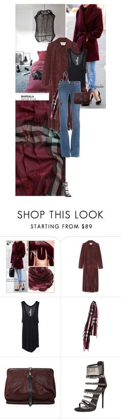 """""""Empire"""" by heyyoumofo ❤ liked on Polyvore featuring Valentino, Raquel Allegra, Burberry, Alexander Wang, Giuseppe Zanotti, flarejeans, coloroftheyear and marsala"""