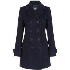 Hobbs Tabatha Coat, Navy ($295) ❤ liked on Polyvore featuring outerwear, coats, navy peacoat, blue pea coat, blue coat, military style coat and navy military coat