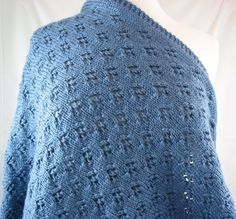 Hand Knit Womens Lacy Wrap Country Blue Caron Simply Soft Yarn Shawl   jazzitupwithdesignsbynancy - Knitting on ArtFire