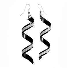 Spiral Twist Frosted Long Dangle Drop Earrings