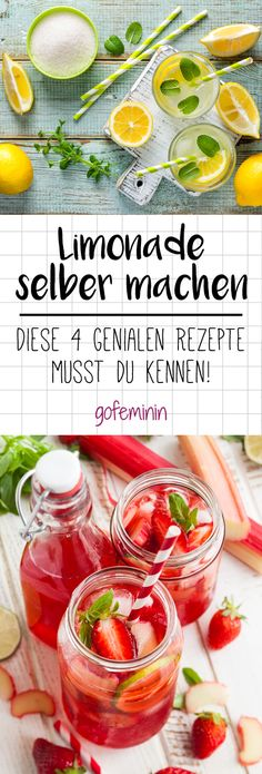 """Limonade selber machen: 4 Trend-Rezepte mit Zitrone, Erdbeer oder Ingwer - 4 genial leckere Limonaden-Rezepte """" 4 genial leckere Limonaden-Rezepte The Effective Pictures We - Healthy Eating Tips, Healthy Drinks, Clean Eating, Healthy Recipes, Homemade Lemonade Recipes, Lemon Recipes, Shrimp Recipes, Smoothie Drinks, Smoothie Bowl"""