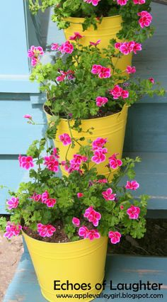 Yellow Spray Painted Buckets with Pink Geraniums