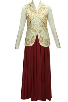 Maroon georgette anarkali set with pistachio green embroidered jacket by Bhumika Sharma. Shop now: www.perniaspopups.... #anarkali #designer #bhumikasharma #elegant #clothing #shopnow #perniaspopupshop #happyshopping