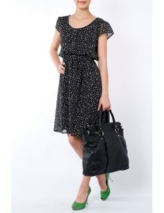 Rochie voal cu buline Negru  Brand: Yard Short Sleeve Dresses, Dresses With Sleeves, Mary, Dresses For Work, Style, Fashion, Moda, Sleeve Dresses, Fashion Styles