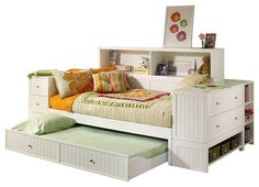 Hillsdale Cody Daybed w/Trundle, Bed End Chest and Bookcase in Classic White -dressers-chests-and-bedroom-armoires