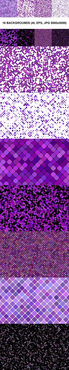 16 seamless diagonal rounded square pattern backgrounds in purple tones Package contains: - 16 vector AI - 16 vector EPS - 16 JPG Square Patterns, Color Patterns, Geometric Patterns, Graphic Patterns, Vector Pattern, Pattern Design, Design Color, Set Design, Triangle Background
