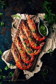 Grilled prawns by RaquelCarmonaRomero - Seafood Fish Recipes, Seafood Recipes, Cooking Recipes, Food Design, Grilled Prawns, Dark Food Photography, Photography Editing, Fish Dishes, Food Menu