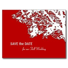 Our Tree Silhouette Save the Date Postcard, Red Postcard