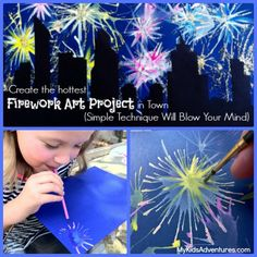 easy paintings Want to create the explosive effects of fireworks in paint? This unique kids' art project will blow you away. It's easy to paint fireworks and city skylines. Fireworks Craft For Kids, Fireworks Art, Fourth Of July Crafts For Kids, Projects For Kids, Art Projects, Arte Elemental, Firework Painting, Kid Painting, Classe D'art