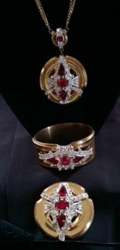 GORGEOUS vintage McClelland Barclay Red parure Deco necklace bracelet brooch set