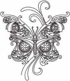 Planner ✯ Embroidery Designs at Urban Threads - Steam Motifs - Butterfly. would be a great design lay-out for a SPed butterfly with watch parts and gears. Embroidery Designs, Hand Embroidery, Machine Embroidery, Steampunk Animals, Bild Tattoos, Urban Threads, Doodles Zentangles, Art Graphique, Coloring Book Pages