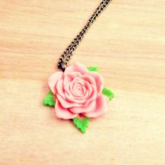 Vintage Style Rose Necklace  Pastel Pink by CountryMermaids