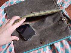 Waxed Canvas Flat Clutch Messenger Vegan Cross Body Day by solaWu