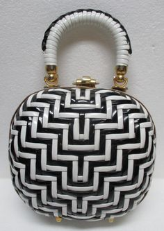 Crown LEWIS Black White Petite Wicker Purse by Vintageables