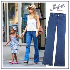On DenimBlog: Heidi Klum was spotted out in NY last 30th June. The model wore a pair of Seafarer Calypso Flare jeans in Stone Wash. #seafarer #theseafarer #celebs #bellbottom #jeans #heidiklum