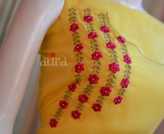 Different types of kurthi neck patterns - Simple Craft Ideas Embroidery On Kurtis, Hand Embroidery Dress, Kurti Embroidery Design, Hand Embroidery Videos, Flower Embroidery Designs, Ribbon Embroidery, Machine Embroidery Designs, Embroidery Patterns, Embroidery Stitches