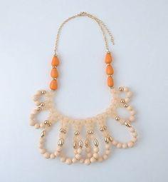 Statement-Ivory-Creme-amp-Orange-w-Gold-Beaded-Loops-Necklace