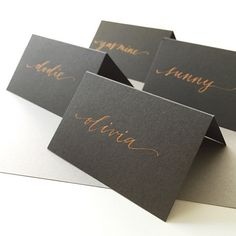 copper calligraphy ink on slate grey cardstock - papermade design