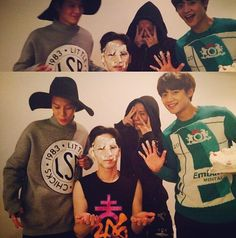 """happy birthday ... key 23 sep 14,key said : Nearly 10 minutes in and I woke up… I am a really happy person !!! Without even giving me time to cry, a cake was smashed in my face (Choi Minho) and on the cake my name was written as """"Gi"""".Choi Minho organised everything. Wearing my shirt and taking a photo. But Minho prepared all this by himself and the old man (referring to Onew) didn't know and he went out to eat udon kekekeke I will receive his wish when he comes back."""
