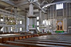 """Kerimäki wood church inside. Memories of childhood. All school children started their summer vacation singing """"suvivirsi"""" together. It was the sign for the long summer vacation."""