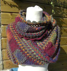 Blij dat ik brei: Herfst-kol, #haken, gratis patroon, granny square, granny stripes, #crochet, free pattern (Dutch), cowl