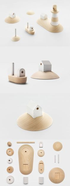 'Archipelago': wooden toy set by Permafrost, originally presented during the…: