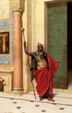 """A Nubian Guard""  --  1895  --  Ludwig Deutsch  --  Austrian  --  Oil on canvas  --  J. Paul Getty Museum  --  Malibu, California"