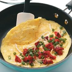 Roasted Red Pepper Omelets, 185 cal