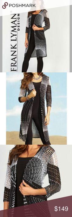 Frank Lyman Graphic Open Knit Jacket Swirling graphic pattern in light open knit with long hem!   frank lyman Tops