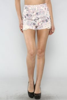 Floral Print Crochet Trim Shorts #ShopMCE