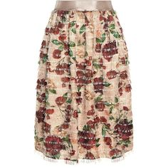 Mother Of Pearl - Emelia Feathered Fringe Skirt (£300) ❤ liked on Polyvore featuring skirts, bottoms, floral printed skirt, flower print skirt, fringe skirts, red tiered skirt and floral print skirt