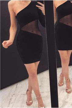 One Shoulder Sheer Mesh Insert Bodycon Dress – streetstylepop Elegant Dresses, Casual Dresses, Fashion Dresses, Formal Dresses, Bodycon Dress Formal, Girls Night Out, Strapless Dress, One Shoulder, Mesh