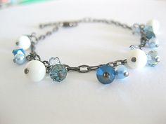 Dainty blue swarovski crystal bohemian charm bracelet. by beadpod8, $15.00