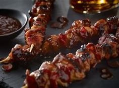 Bacon Bourbon Barbeque Chicken Kebabs