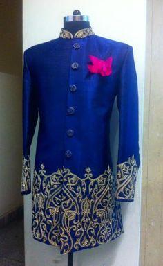 blue sherwani by sagar tenali.