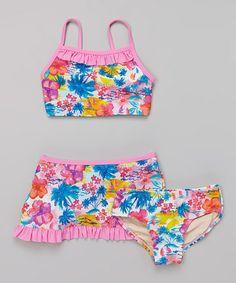 Another great find on #zulily! Pink Tropical Bikini & Swim Skirt - Girls #zulilyfinds