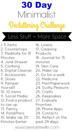 30 Day Minimalist Decluttering Challenge | Tired of the clutter and excess sitting around? Try this 30 Day Challenge! #30DMDC | www.awelderswife.com