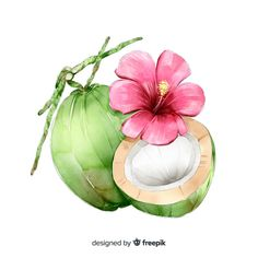 Watercolor Fruit, Watercolor Flowers, Watercolor Paintings, Bubble Drawing, Fruit Tattoo, Pure Coconut Water, Pineapple Wallpaper, Coconut Palm Tree, Fruit Illustration