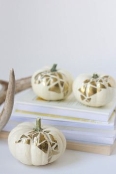 Geometric Gold Painted Pumpkins