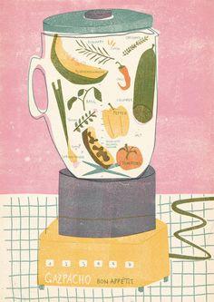 Barbara Dziadosz Illustration - Gazpacho recipe I did for nham nham soon available. Editorial Illustration, Illustration Inspiration, Love Illustration, Alphonse Mucha, Illustrations And Posters, Oeuvre D'art, Diy Art, Food Art, Art Inspo