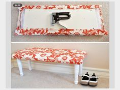 DIY Footboard: wooden board, add pegs and cover in fabric