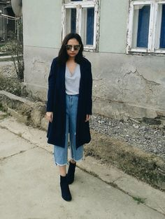 Double Navy, wearing wide leg jeans with navy coat and ankle boots