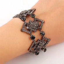 FB041 Free Shipping Luxury Brand Full Stone Black Crystal Rhinestone Bracelets Bangles For Women New 2014 Fashion Accessories(China (Mainland))
